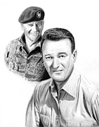 Graphite Framed Prints - John Wayne Framed Print by Peter Piatt