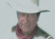 Hollywood Paintings - John Wayne by Randy Follis