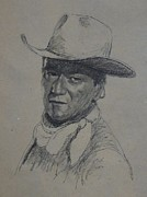 John Wayne Prints Framed Prints - John Wayne Framed Print by Sean Wu