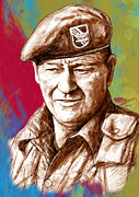 John Wayne Stylised Pop Art Drawing Potrait Poser Print by Kim Wang