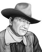 Cowboy Pencil Drawings Framed Prints - John Wayne - The Duke Framed Print by Charles Champin