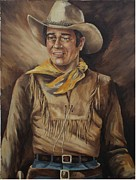 Leather Belt Painting Posters - John Wayne The Young Man Poster by Wanda Dansereau