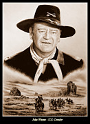 Sepia Drawings Prints - John Wayne US Cavalry Print by Andrew Read
