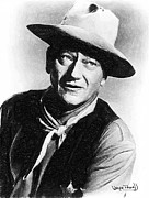 John Wayne Drawings Framed Prints - John Wayne Framed Print by Wayne Pascall