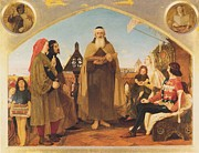 Religious Art Painting Prints - John Wycliffe reading his translation of the Bible to John of Gaunt Print by Ford Madox Brown