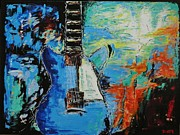 Electric Guitar Painting Originals - Johnny B. by Dan Campbell