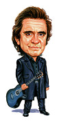 Caricatures Paintings - Johnny Cash by Art