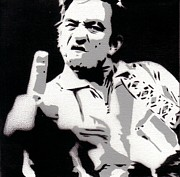 Music Metal Prints - Johnny Cash Famous Fuck You Poster Metal Print by Sanely Great