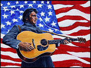 American Flag Painting Originals - Johnny Cash by John Lautermilch