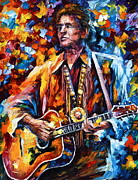 Original Oil Portrait Posters - Johnny Cash new Poster by Leonid Afremov