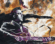 Rock N Roll Originals - Johnny Cash Original Painting Print by Ryan Rabbass