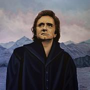 Johnny Cash Print by Paul  Meijering