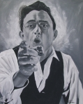Music Legend Poster Prints - Johnny Cash Portrait Print by M Oliveira