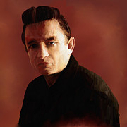 Johnny Cash Prints - Johnny Cash Print by Robert Wheater