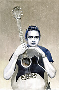 Rock Music Paintings - Johnny Cash by Yuriy  Shevchuk