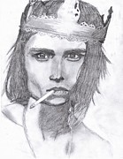 Sparrow Drawings Prints - Johnny D Print by Emme Ronski