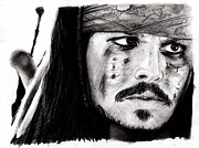 Pirates Drawings Posters - Johnny Depp 3 Poster by Rosalinda Markle