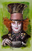 Celebrities Pastels Posters - Johnny Depp as Mad Hatter Poster by Melanie D