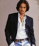 Celebrities Framed Prints - Johnny Depp Framed Print by Dominique Amendola
