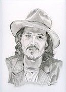 Johnny Drawings Posters - Johnny Depp Poster by Eva Ason