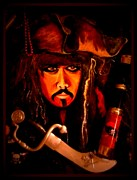 Hot Glue Prints - Johnny Depp Print by Frances Avalos