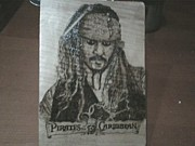 Pirates Pyrography Framed Prints - Johnny Depp Framed Print by Marko Safran