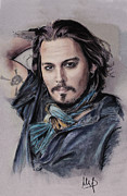Celebrities Pastels Posters - Johnny Depp Poster by Melanie D