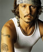 Movies Photo Metal Prints - Johnny Depp Poster Metal Print by Sanely Great