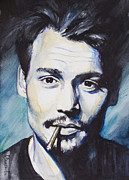 Cigarette Framed Prints - Johnny Depp Framed Print by Slaveika Aladjova