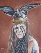 Celebrity Portraits Painting Originals - Johnny Depp - Tonto by Kathie Camara