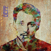 Paulette Wright Digital Art Prints - Johnny Depp watercolor splashes Print by Paulette Wright