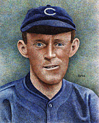 Chicago Baseball Drawings - Johnny Evers by Rob Payne