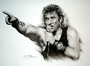 Indian Ink Framed Prints - Johnny Halliday Framed Print by Guillaume Bruno