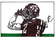 Ncaa Drawings Posters - Johnny Manziel 2 Poster by Jeremiah Colley