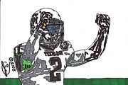 Sports Art Drawings Posters - Johnny Manziel 3 Poster by Jeremiah Colley