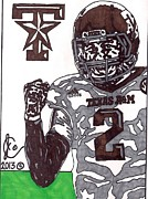 Sports Art Drawings Posters - Johnny Manziel 9 Poster by Jeremiah Colley