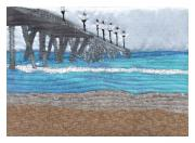 Sand Tapestries - Textiles - Johnny Mercers Pier at Wrightsville Beach by Anita Jacques