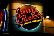 Night Cafe Posters - Johnny Rockets Sign Poster by Chuck Staley