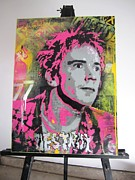 Johnny Mixed Media Posters - Johnny Rotten Poster by John Little