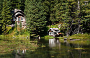 River Cabin Prints - Johnny Sack Cabin Print by Robert Bales