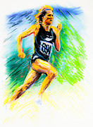 Runner Pastels Posters - Johnny Walker of New Zealand Poster by Dariusz Janczewski