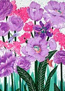 Purple Flowers Tapestries - Textiles Posters - Johnnys Garden Poster by Jean Baardsen