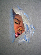 Closeup Pastels Prints - John....Sleeping Print by Joan Butler Gore