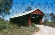 Covered Bridge Painting Metal Prints - Johnson Road Covered Bridge Ohio Metal Print by Scott B Bennett