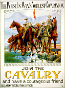 Color Lithographs Acrylic Prints - Join the Cavalry 1920 Acrylic Print by Padre Art