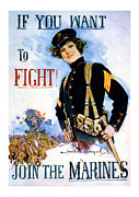 Patrotic Framed Prints - Join the Marines  Vintage ww1 Art Framed Print by Presented By American Classic Art
