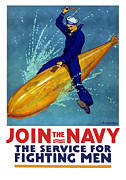 Wwi Mixed Media Metal Prints - Join The Navy The Service For Fighting Men  Metal Print by War Is Hell Store