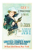 Patrotic Framed Prints - Join the Navy  Vintage ww1 Art Framed Print by Presented By American Classic Art