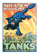 Midcentury Mixed Media Posters - Join The Tanks Word War 1 Enlistment Art Poster by Presented By American Classic Art