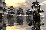 Tall Ship Art - Joining the fray by Claude McCoy